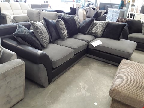 Lot 123 DESIGNER BLACK FAUX LEATHER AND GREY FABRIC CORNER SOFA WITH SCATTER BACK CUSHIONS