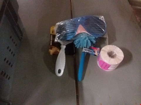 Lot 8256 A BOX OF ASSORTED ITEMS TO INCLUDE STICKERS, MICROFIBER DUSTER,CHEESEVSLICER AND A SLEEPING MASK