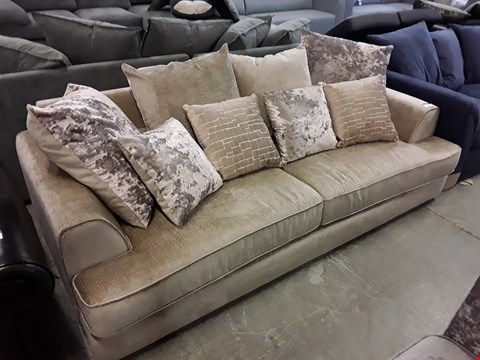 Lot 13 DESIGNER BEIGE FABRIC 3 SEATER SOFA WITH ASSORTED CUSHIONS
