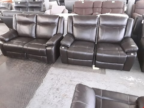 Lot 55 PAIR OF DESIGNER PALERMO DARK BROWN LEATHER RECLINING TWO SEATER SOFAS, 1 POWER, 1 MANUAL  RRP £3360