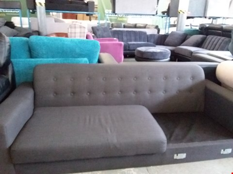 Lot 32 DESIGNER 2 SEATER BROWN FABRIC SOFA