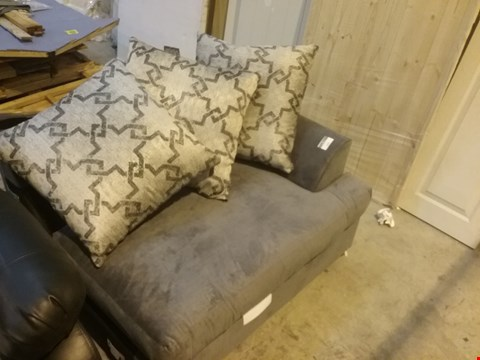 Lot 379 DESIGNER GREY FABRIC SOFA SECTION WITH SCATTER CUSHIONS