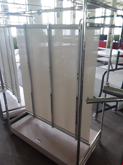Lot 2070 DOUBLE SIDED METAL MOVABLE DISPLAY UNIT WITH CANVAS CENTRE DIVIDER