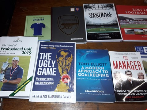 Lot 157 LOT OF APPROXIMATELY 17 ASSORTED BOOKS AND MAGAZINES TO INCLUDE SINCLAIR MCKAY BLETCHLEY PARK BRAINTEASERS, MIKE CARSON THE MANAGER AND FOOTBALL GROUNDS A FANS GUIDE ECT