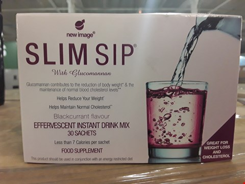 Lot 2289 BOX OF APPROXIMATELY 30 PACKS OF NEW IMAGE SLIM SIP EFFERVESCENT INSTANT DRINK MIX - 30 SACHETS PER PACK - BLACKCURRANT FLAVOUR