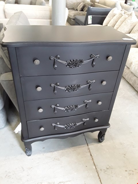 Lot 32 DESIGNER BLACK FINISH ORNATE STYLE 4 DRAWER CHEST