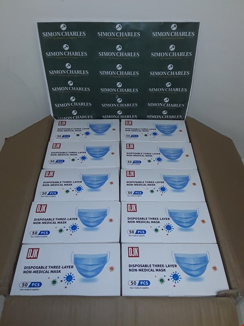 Lot 8027 LOT OF 2500 DISPOSABLE THREE-LAYER NON-MEDICAL FACE MASKS (50 BOXES OF 50)