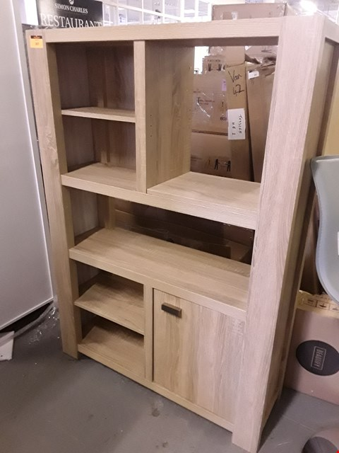 Lot 397 DESIGNER OPEN SHELF TALL DISPLAY UNIT WITH CUPBOARD