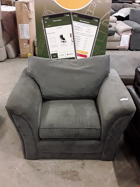 Lot 15 DESIGNER GREY FABRIC ARMCHAIR