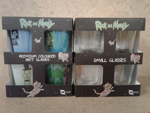 Lot 481 4 BRAND NEW BOXED RICK AMD MORTY PREMIUM SHOT GLASSES AND SHOT GLASSES