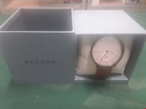 Lot 1002 BOXED SKAGEN WATCH WITH BROWN LEATHER STRAP RRP £249