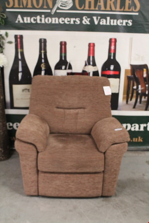 Lot 6 QUALITY BRITISH MADE, HARDWOOD FRAMED BROWN FABRIC ARMCHAIR