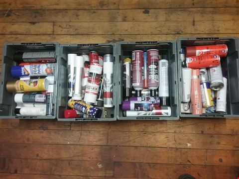 Lot 7081 LOT OF 4 BOXES OF ASSORTED AEROSOLS TO INCLUDE ROCOL FOODLUBE SPRAY,COMIE 1080 PAINTABLE MOULD RELEASE, WLW AUTOPARTS SPRAY PAINT, POLYCELL EXPANDING FOAM ETC (BOXES NOT INCLUDED)