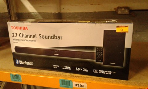 Lot 18 BOXED TOSHIBA 2.1 CHANNEL SOUNDBAR WITH WIRELESS SUBWOOFER TY WSB600