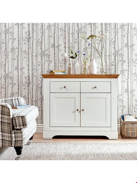 Lot 7127 BOXED WILTSHIRE CREAM/OAK EFFECT COMPACT SIDEBOARD (1 BOX)
