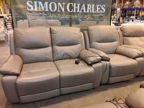 Lot 9062 DESIGNER GREY LEATHER POWER RECLINING LOUNGE SUITE, COMPRISING TWO SEATER SOFA & EASY CHAIR