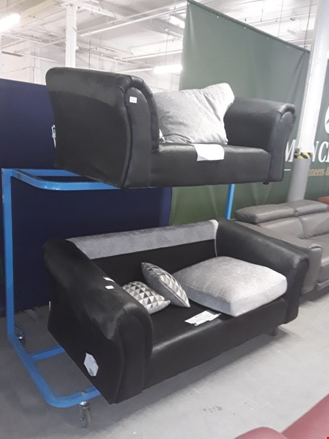 Lot 57 DESIGNER BLACK SUEDE 3 SEATER SOFA AND BLACK SUEDE 2 SEATER SOFA