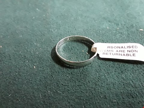 """Lot 1562 PERSONALISED 9CT WHITE GOLD """"I LOVE YOU"""" WEDDING BAND RRP £130"""