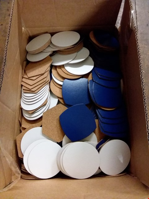 Lot 587 BOX OF APPROXIMATELY 500 ASSORTED LEATHER DRINKS COASTERS