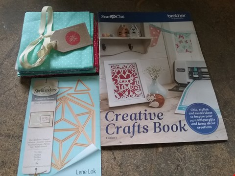 Lot 7965 BOX OF APPROXIMATELY 40 CRAFT ITEMS TO INCLUDE SPELLBINDER GEO DIES TRI HEX, FAT QUARTERFLORAL DAISY AQUA AND BROTHER SCANNCUT PROJECT BOOK 2