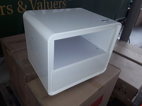 Lot 85 BOXED COSMOS WHITE CURVED LAMP TABLE  RRP £89