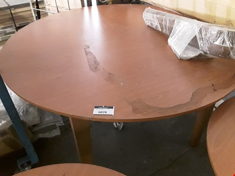 Lot 1155 CIRCULAR TEAK EFFECT FIXED DINING TABLE