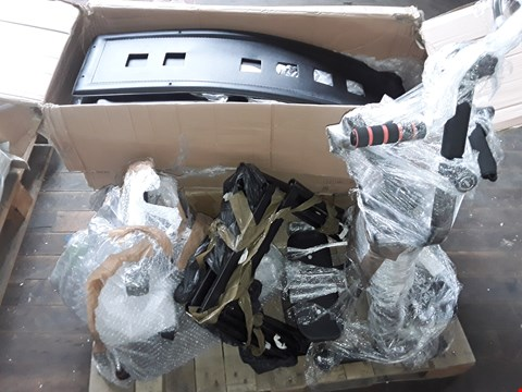 Lot 83 PALLET OF ASSORTED ITEMS TO INCLUDE BLACK FAUX LEATHER CHAIR PARTS AND FITNESS EQUIPMENT PARTS