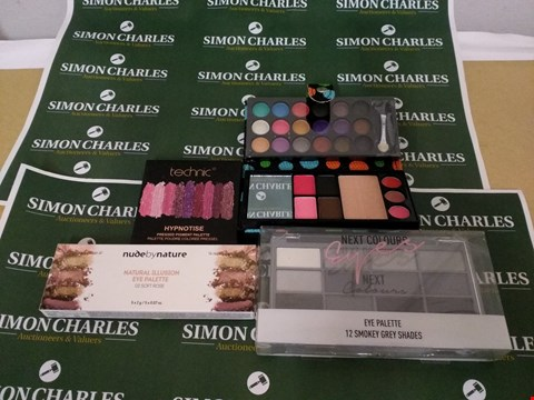 Lot 45 LOT OF 4 MAKEUP PALETTES TO INCLUDE NUDEBY NATURE NATURAL ILLUSION MAKEUP PALLETE, NEXT CONTURE EYE PALETTE AND TECHNIC HYPNOTISE PRESSED PIGMENT PALLETE