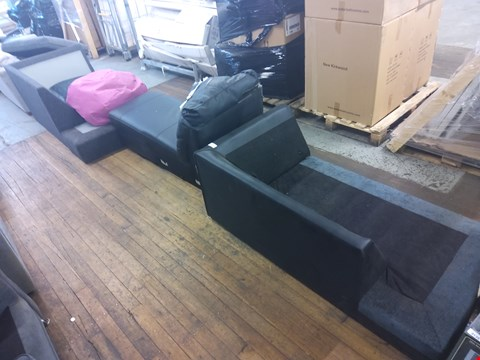 Lot 6046 THREE SOFA SECTIONS AND A PINK BEANBAG