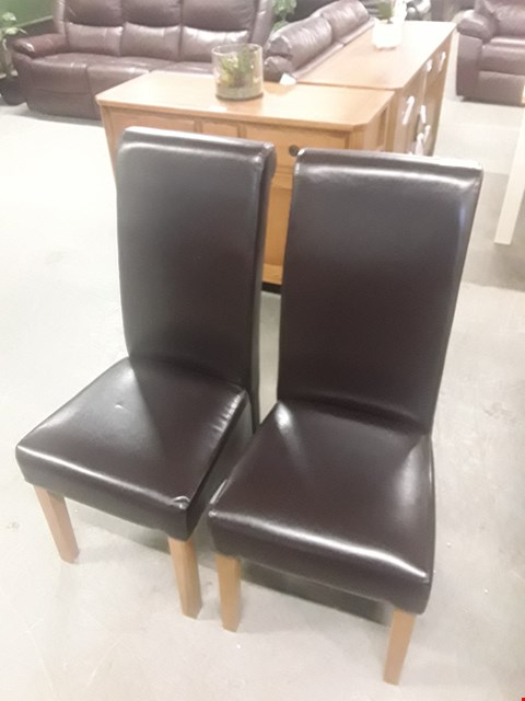 Lot 656 QUALITY MADE PAIR OF SHETLAND BROWN FAUX LEATHER ROLLBACK CHAIRS  RRP £399.98