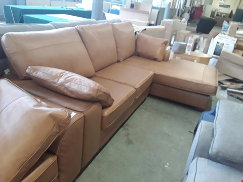 Lot 2 QUALITY BRITISH DESIGNER TAN LEATHER CORNER  CHAISE SOFA WITH BOLSTER CUSHIONS