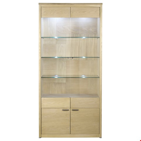 Lot 3012 CONTEMPORARY DESIGNER BOXED JENSON BLONDE OAK WIDE DISPLAY CABINET  RRP £1045.00