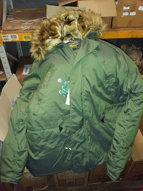Lot 1448 A LOT OF 6 BOXES OF APPROXIMATELY 75 ASSORTED CLOTHING ITEMS TO INCLUDE A GREEN PARKER, BLUE SUIT JACKET, GREY SUIT JACKET