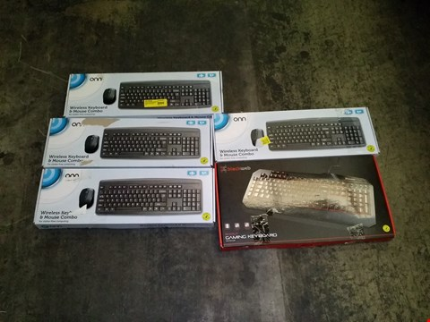 Lot 3340 LOT OF 5 KEYBOARDS TO INCLUDE 4X ONN WIRELESS KEYBOARDS AND BLACKWEB BACKLIT GAMING KEYBOARD