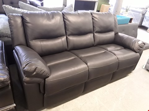 Lot 17 DESIGNER BLACK FAUX LEATHER ALBION FIXED 3 SEATER SOFA  RRP £699.00