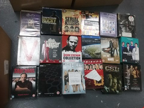 Lot 12027 A BOX OF APPROXIMATELY 28 ASSORTED DVD/BOXSETS TO INCLUDE A JASON STATHAM COLLECTION AND A FRIENDS COLLECTION