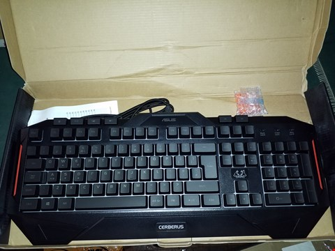 Lot 840 ASUS CEBERUS LED BACKLIT USB GAMING KEYBOARD WITH OPTICAL GAMING MOUSE