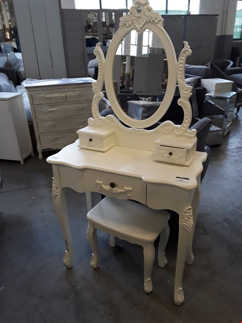 Lot 267 DESIGNER WHITE FINISH ORNATE STYLE DRESSING TABLE, STOOL AND MIRROR