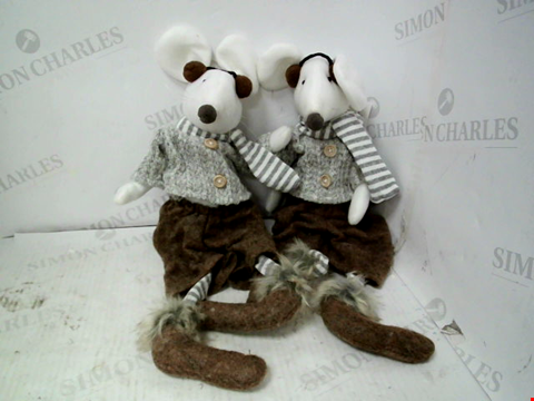 Lot 10143 SET OF 2 SITTING MICE CHRISTMAS DECORATIONS RRP £25.00