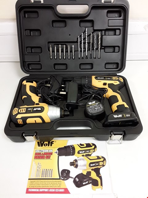 Lot 9120 WOLF 18V LITHIUM ION DRILL AND IMPACT DRIVER SET