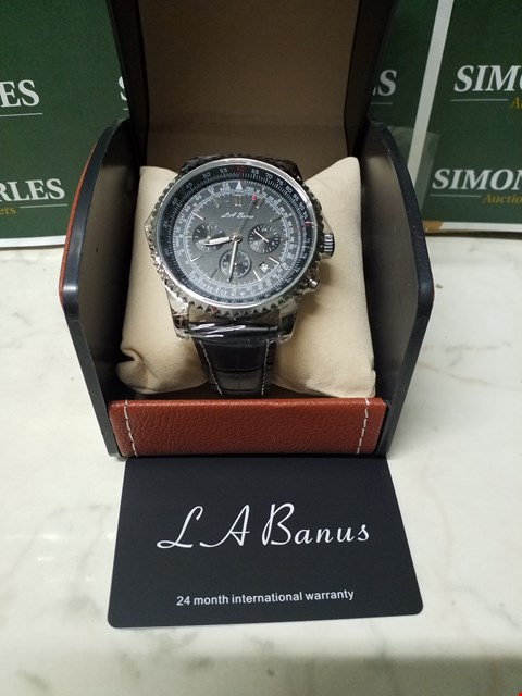 Lot 4588 L. A BANUS BLACK DIAL STAINLESS STEEL CASE CHRONOGRAPH WATCH WITH BLACK LEATHER WRIST STRAP