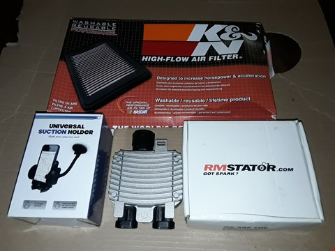 Lot 8504 LOT OF 4 ASSORTED AUTOMOBILE ITEMS TO INCLUDE HIGH FLOW AIR FILTER AND SUCTION HOLDER