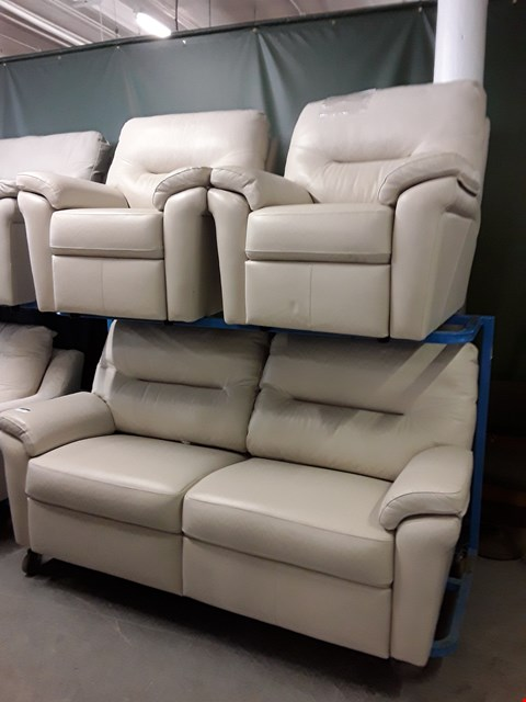 Lot 1007 QUALITY BRITISH MADE, HARDWOOD FRAMED CREAM LEATHER 3 SEATER SOFA AND TWO ARMCHAIRS