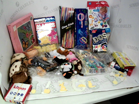 "Lot 3045 LOT OF ASSORTED TOYS & COLLECTIBLES TO INCLUDE: ASSORTED GLOW STICKS, ""DOS"" CARD GAME, ASSORTED TY MINI PLUSH TOYS"