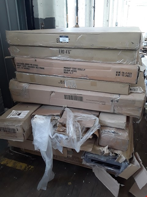 Lot 7059 PALLET OF ASSORTED BOXED BED FRAME PARTS