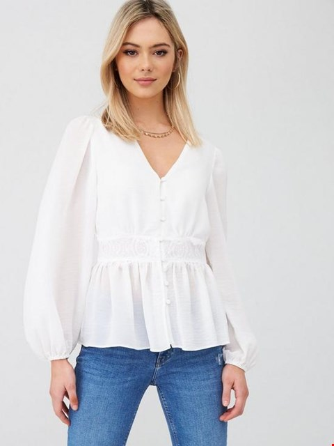 Lot 3696 BRAND NEW RIVER ISLAND WAISTED BUTTON BLOUSE - IVORY SIZE 10