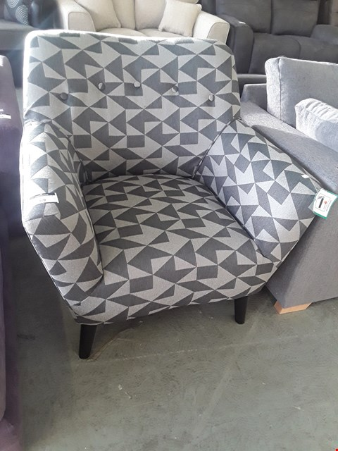 Lot 69 DESIGNER GREY GEOMETRIC PATTERNED FABRIC VINTAGE STYLE EASY CHAIR