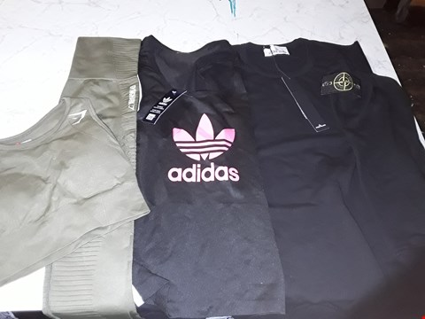 Lot 602 AN ASSORTMENT OF CLOTHING ITEMS TO INCLUDE ADIDAS, GYM SHARK AND STONE ISLAND STYLES