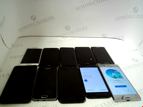 Lot 3371 LOT OF 10 ASSORTED SMARTPHONES; VARIOUS MAKES AND GRADES