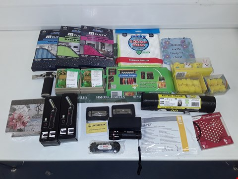 Lot 8063 LOT OF ASSORTED HOUSEHOLD ITEMS TO INCLUDE CLEANING CLOTHS, CAR SCENTS, DIY TOOLS